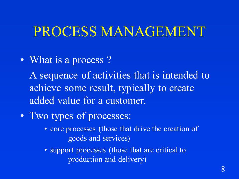8 PROCESS MANAGEMENT What is a process .