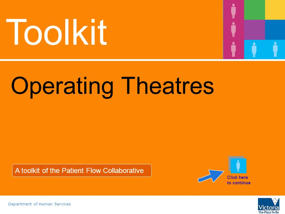 Department of Human Services Toolkit Operating Theatres A toolkit of the Patient Flow Collaborative Click here to continue