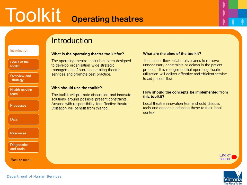 Toolkit Operating theatres Department of Human Services Introduction Goals of the toolkit Overview and strategy Health service team Processes Data Resources Diagnostics and tools Introduction What is the operating theatre toolkit for.
