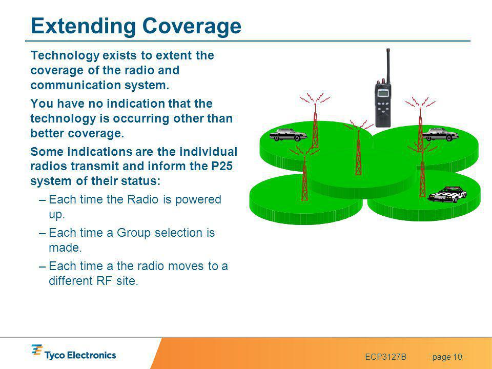ECP3127Bpage 10 Extending Coverage Technology exists to extent the coverage of the radio and communication system. You have no indication that the tec