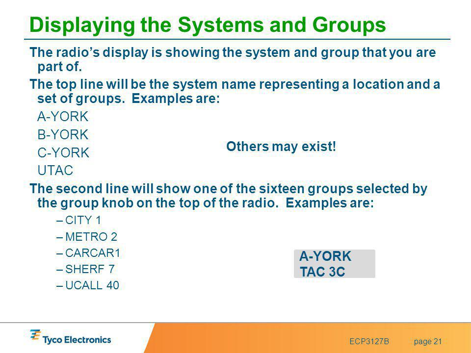ECP3127Bpage 21 Displaying the Systems and Groups The radios display is showing the system and group that you are part of. The top line will be the sy