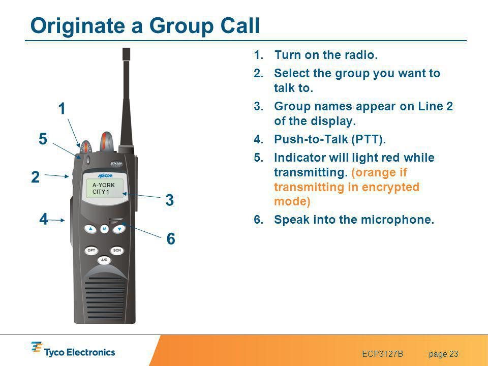 ECP3127Bpage 23 A-YORK CITY 1 4 4 1 1 2 2 3 3 5 5 Originate a Group Call 1.Turn on the radio. 2.Select the group you want to talk to. 3.Group names ap