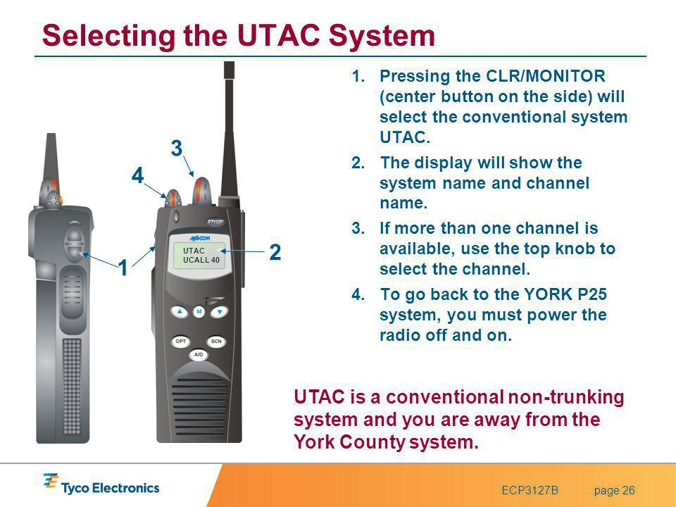 ECP3127Bpage 26 UTAC UCALL 40 Selecting the UTAC System 1.Pressing the CLR/MONITOR (center button on the side) will select the conventional system UTA