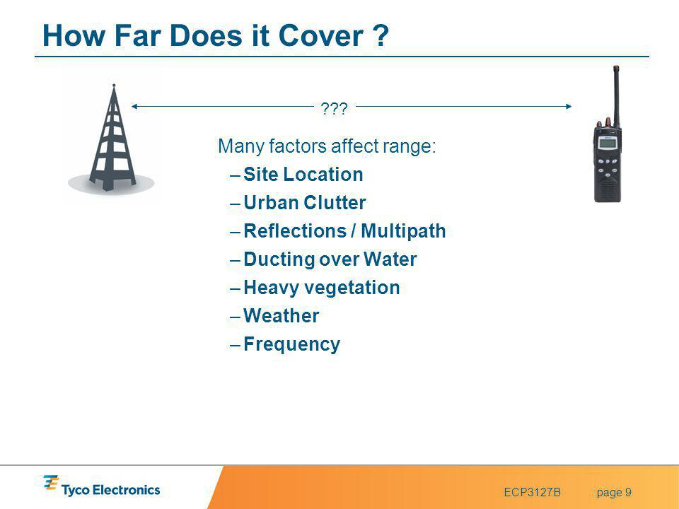 ECP3127Bpage 10 Extending Coverage Technology exists to extent the coverage of the radio and communication system.