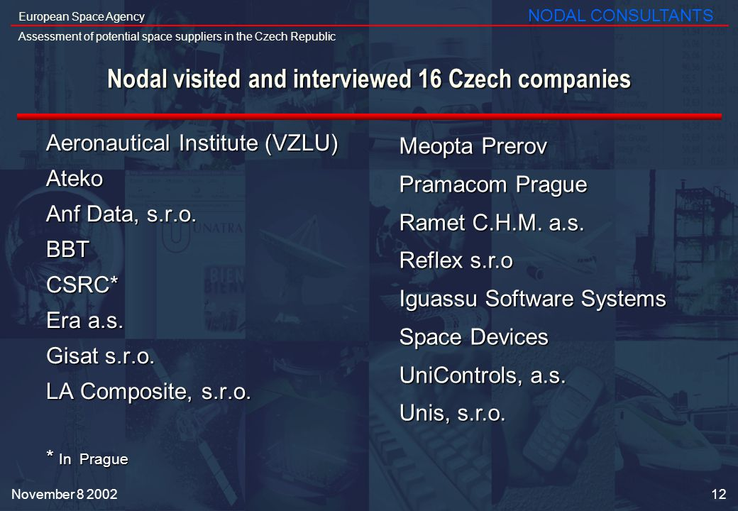 12 European Space Agency Assessment of potential space suppliers in the Czech Republic NODAL CONSULTANTS November Nodal visited and interviewed 16 Czech companies Aeronautical Institute (VZLU) Ateko Anf Data, s.r.o.
