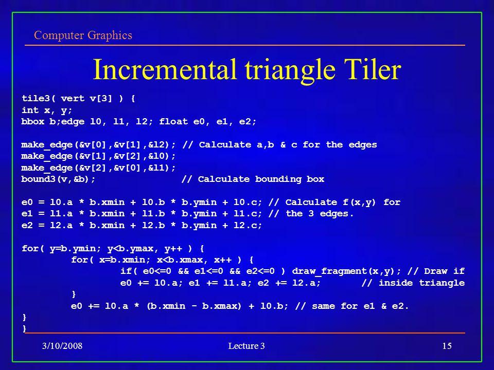 Computer Graphics 3/10/2008Lecture 315 Incremental triangle Tiler tile3( vert v[3] ) { int x, y; bbox b;edge l0, l1, l2; float e0, e1, e2; make_edge(&v[0],&v[1],&l2); // Calculate a,b & c for the edges make_edge(&v[1],&v[2],&l0); make_edge(&v[2],&v[0],&l1); bound3(v,&b); // Calculate bounding box e0 = l0.a * b.xmin + l0.b * b.ymin + l0.c; // Calculate f(x,y) for e1 = l1.a * b.xmin + l1.b * b.ymin + l1.c; // the 3 edges.