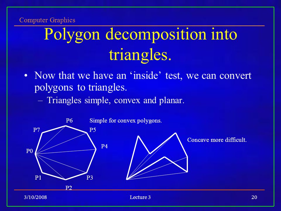 Computer Graphics 3/10/2008Lecture 320 Polygon decomposition into triangles. Now that we have an inside test, we can convert polygons to triangles. –T