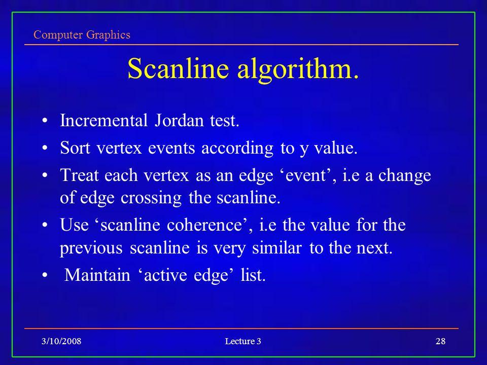 Computer Graphics 3/10/2008Lecture 328 Scanline algorithm.