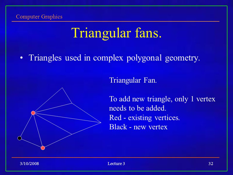 Computer Graphics 3/10/2008Lecture 332 Triangular fans. Triangles used in complex polygonal geometry. Triangular Fan. To add new triangle, only 1 vert