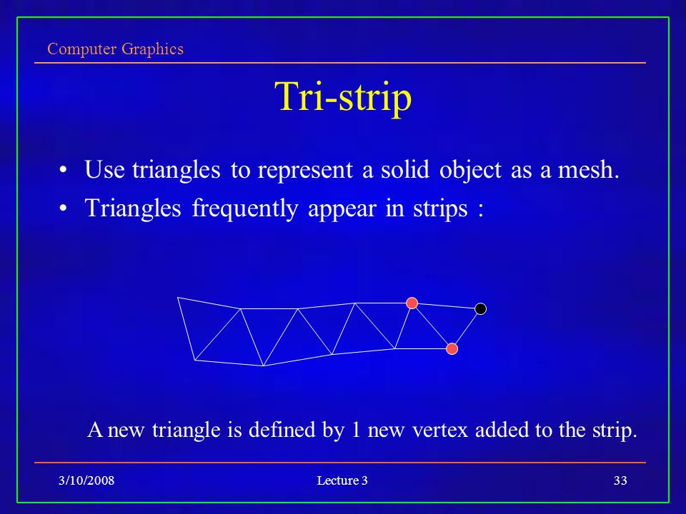 Computer Graphics 3/10/2008Lecture 333 Tri-strip Use triangles to represent a solid object as a mesh. Triangles frequently appear in strips : A new tr