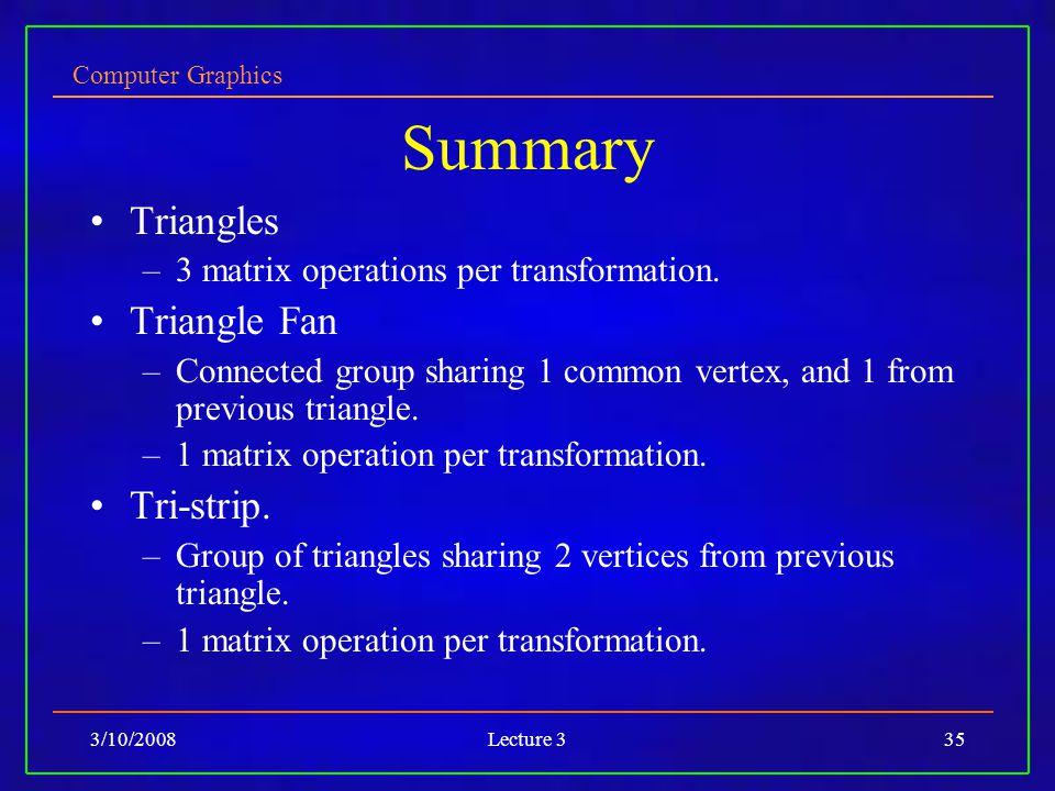 Computer Graphics 3/10/2008Lecture 335 Summary Triangles –3 matrix operations per transformation.