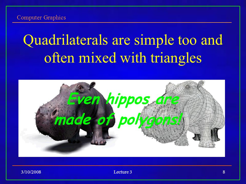 Computer Graphics 3/10/2008Lecture 38 Quadrilaterals are simple too and often mixed with triangles