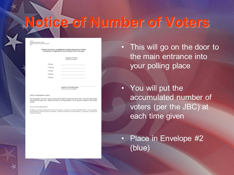 Notice of Number of Voters This will go on the door to the main entrance into your polling place You will put the accumulated number of voters (per th