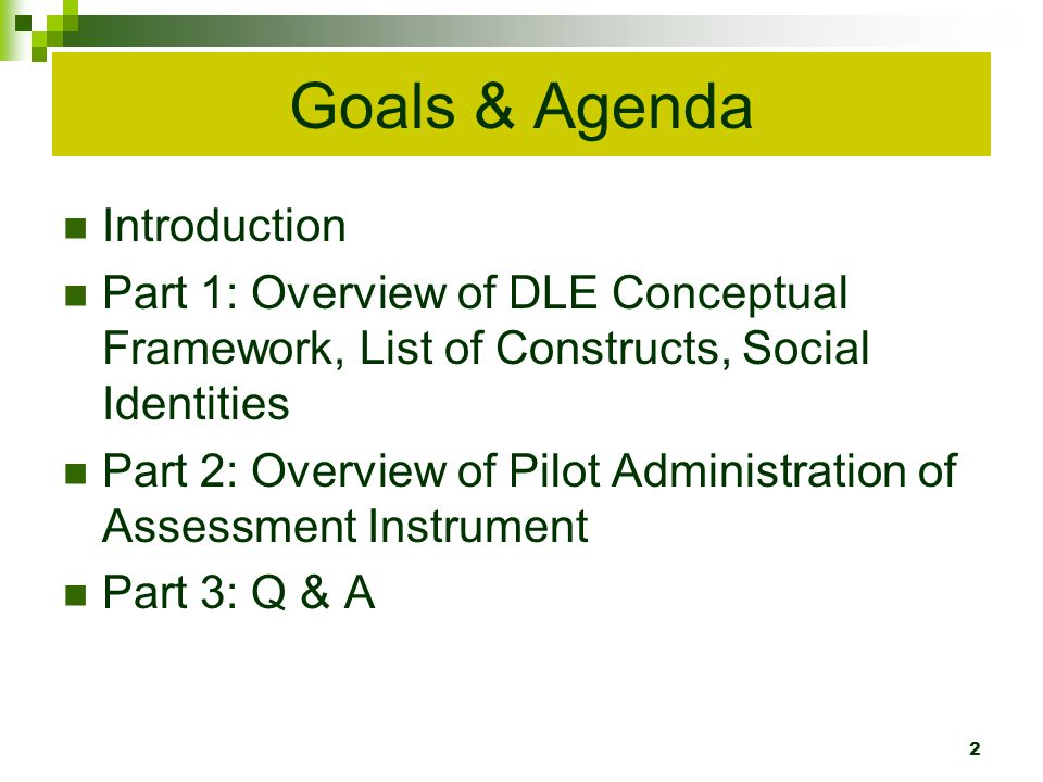 Goals & Agenda Introduction Part 1: Overview of DLE Conceptual Framework, List of Constructs, Social Identities Part 2: Overview of Pilot Administration of Assessment Instrument Part 3: Q & A 2