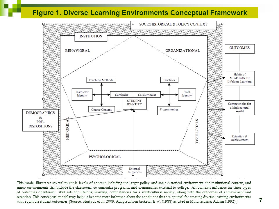 7 This model illustrates several multiple levels of context, including the larger policy and socio-historical environment, the institutional context, and mirco-environments that include the classroom, co-curricular programs, and communities external to college.