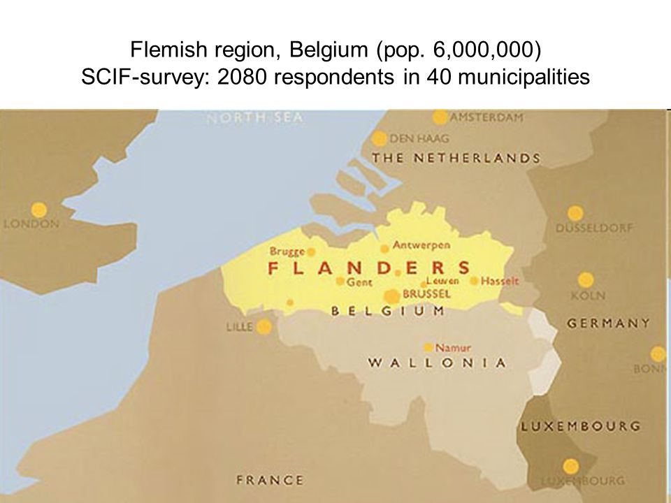Flemish region, Belgium (pop. 6,000,000) SCIF-survey: 2080 respondents in 40 municipalities