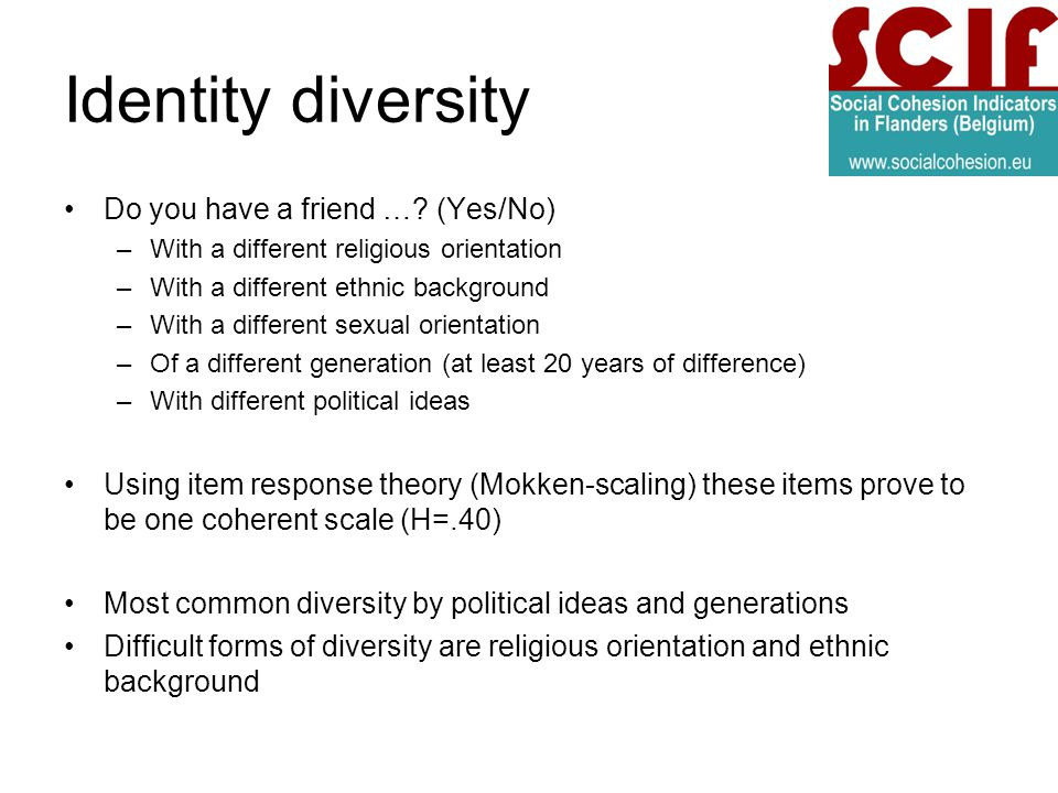 Identity diversity Do you have a friend ….
