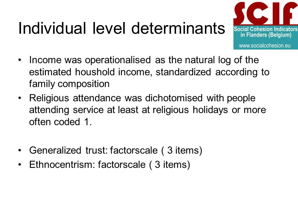 Individual level determinants Income was operationalised as the natural log of the estimated houshold income, standardized according to family composition Religious attendance was dichotomised with people attending service at least at religious holidays or more often coded 1.