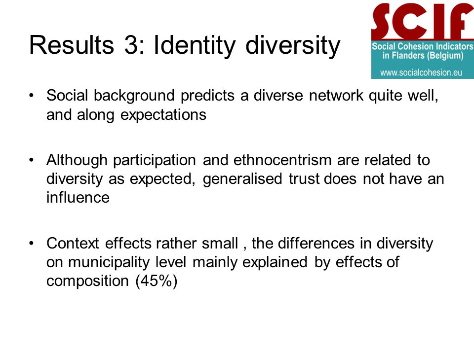 Results 3: Identity diversity Social background predicts a diverse network quite well, and along expectations Although participation and ethnocentrism are related to diversity as expected, generalised trust does not have an influence Context effects rather small, the differences in diversity on municipality level mainly explained by effects of composition (45%)