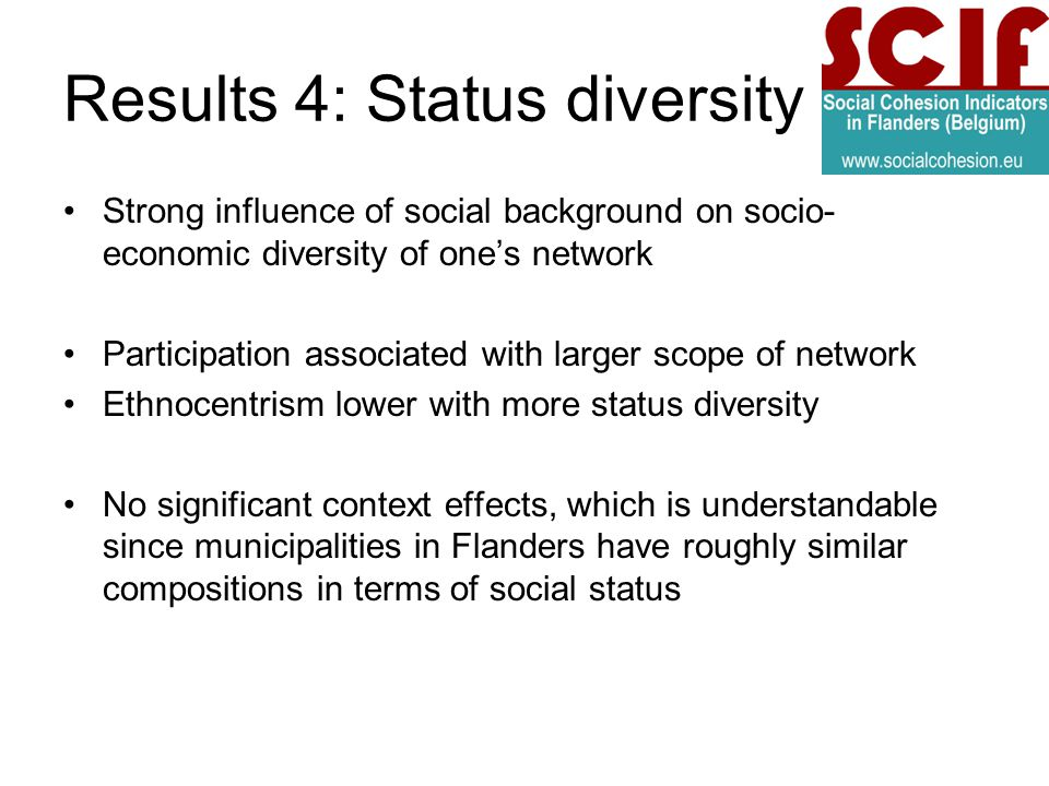Results 4: Status diversity Strong influence of social background on socio- economic diversity of ones network Participation associated with larger scope of network Ethnocentrism lower with more status diversity No significant context effects, which is understandable since municipalities in Flanders have roughly similar compositions in terms of social status