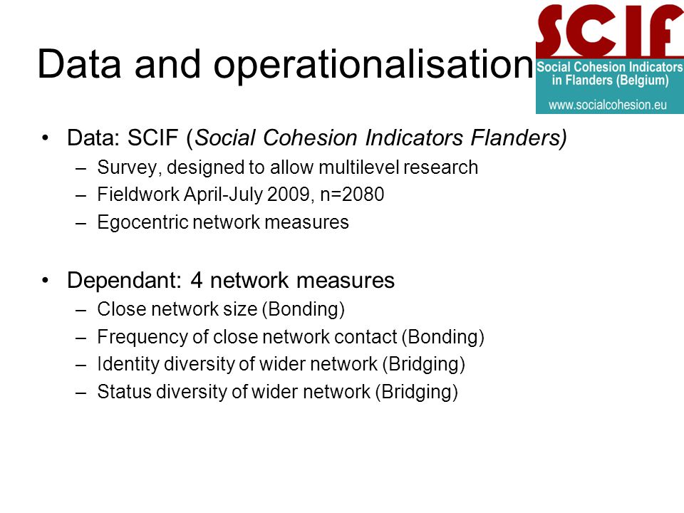Data and operationalisation Data: SCIF (Social Cohesion Indicators Flanders) –Survey, designed to allow multilevel research –Fieldwork April-July 2009, n=2080 –Egocentric network measures Dependant: 4 network measures –Close network size (Bonding) –Frequency of close network contact (Bonding) –Identity diversity of wider network (Bridging) –Status diversity of wider network (Bridging)