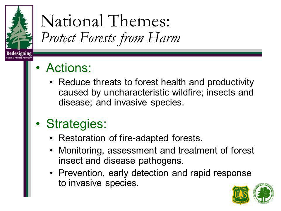National Themes: Protect Forests from Harm Actions: Reduce threats to forest health and productivity caused by uncharacteristic wildfire; insects and disease; and invasive species.