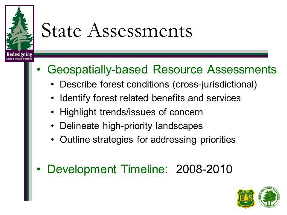State Assessments Geospatially-based Resource Assessments Describe forest conditions (cross-jurisdictional) Identify forest related benefits and services Highlight trends/issues of concern Delineate high-priority landscapes Outline strategies for addressing priorities Development Timeline: 2008-2010