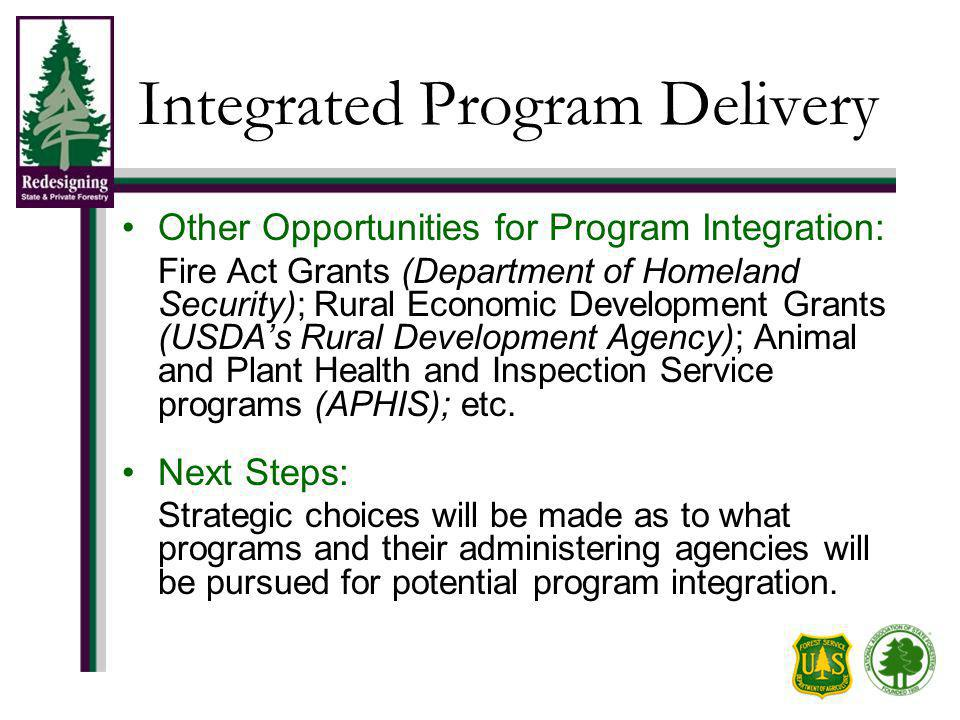 Integrated Program Delivery Other Opportunities for Program Integration: Fire Act Grants (Department of Homeland Security); Rural Economic Development Grants (USDAs Rural Development Agency); Animal and Plant Health and Inspection Service programs (APHIS); etc.
