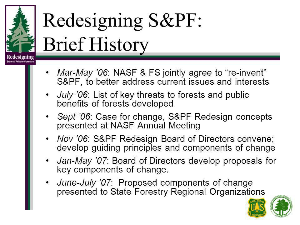 Redesigning S&PF: Brief History Mar-May 06: NASF & FS jointly agree to re-invent S&PF, to better address current issues and interests July 06: List of key threats to forests and public benefits of forests developed Sept 06: Case for change, S&PF Redesign concepts presented at NASF Annual Meeting Nov 06: S&PF Redesign Board of Directors convene; develop guiding principles and components of change Jan-May 07: Board of Directors develop proposals for key components of change.
