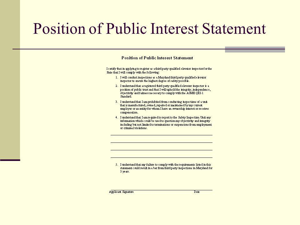 Position of Public Interest Statement
