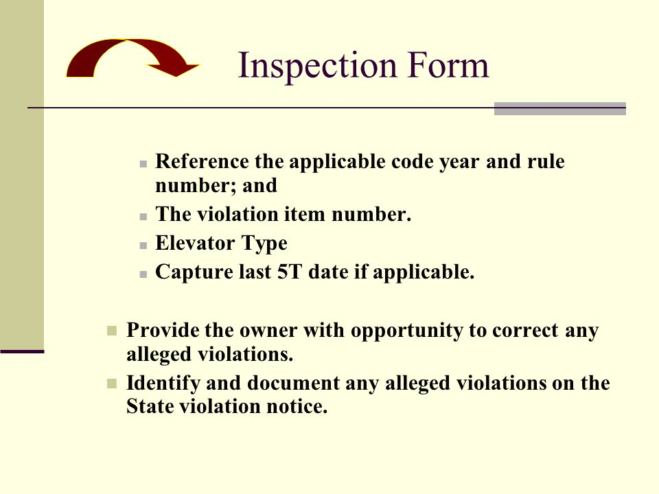 Reference the applicable code year and rule number; and The violation item number.