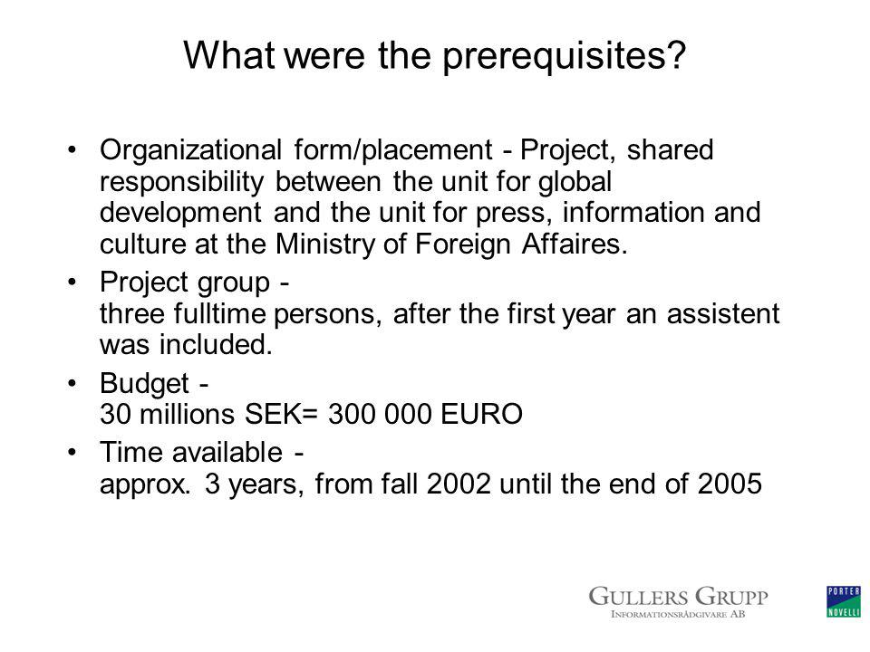 What were the prerequisites.