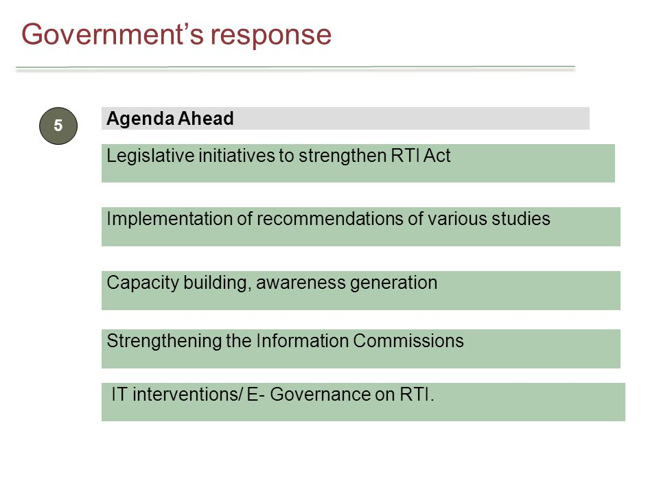 Governments response 5 Agenda Ahead Legislative initiatives to strengthen RTI Act Implementation of recommendations of various studies Capacity building, awareness generation Strengthening the Information Commissions IT interventions/ E- Governance on RTI.
