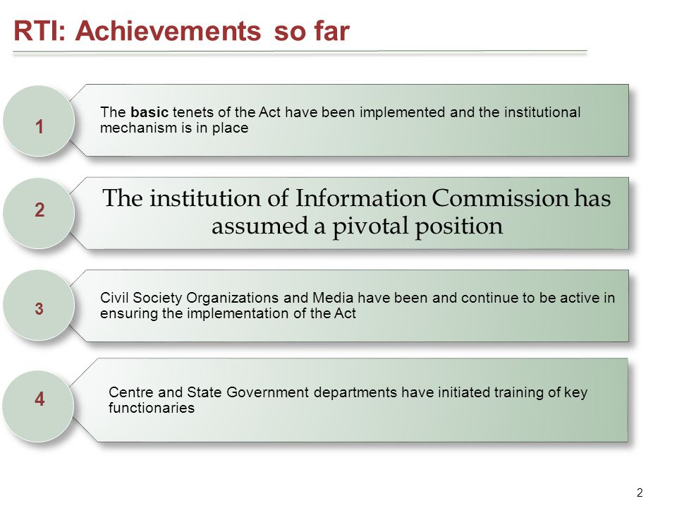 Enhanced accountability and clarity in role at Government level 4 Create an RTI Implementation Cell headed by a senior Officer at the State and Central level.
