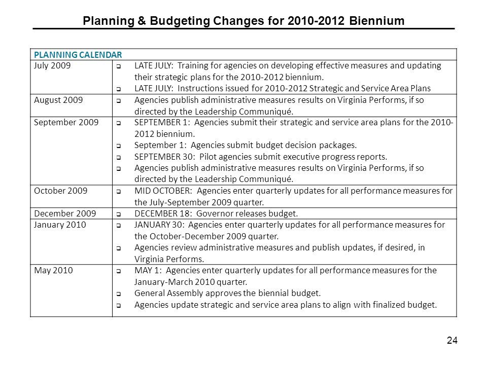 Planning & Budgeting Changes for 2010-2012 Biennium 24 PLANNING CALENDAR July 2009 LATE JULY: Training for agencies on developing effective measures and updating their strategic plans for the 2010-2012 biennium.