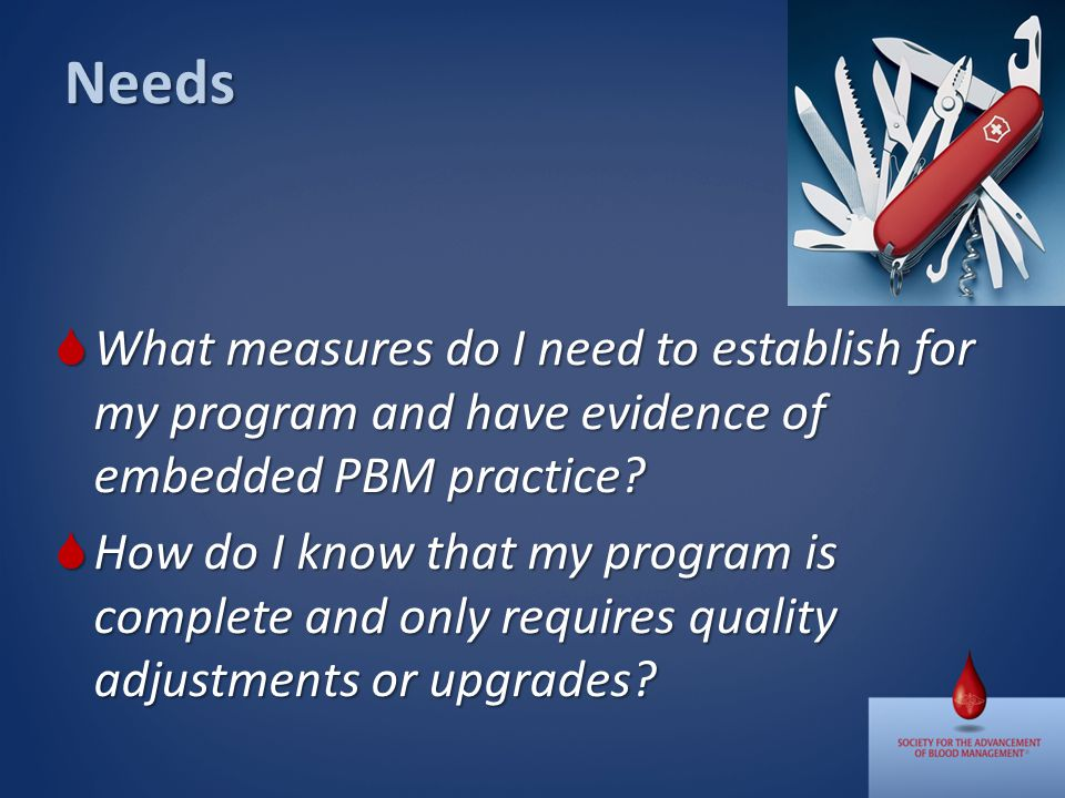Needs What measures do I need to establish for my program and have evidence of embedded PBM practice.