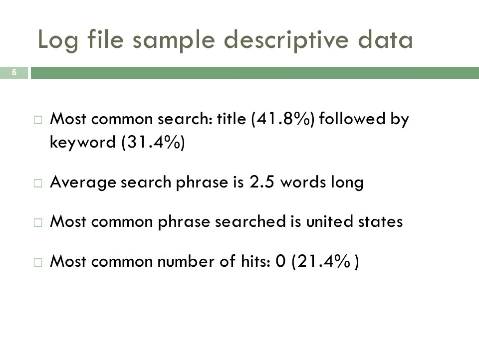 Log file sample descriptive data 5 Most common search: title (41.8%) followed by keyword (31.4%) Average search phrase is 2.5 words long Most common phrase searched is united states Most common number of hits: 0 (21.4% )