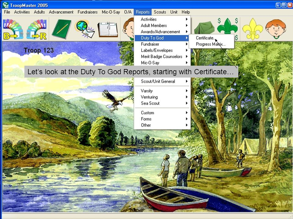 This report allows you to get an individual report on any scout for any of the three certificates.