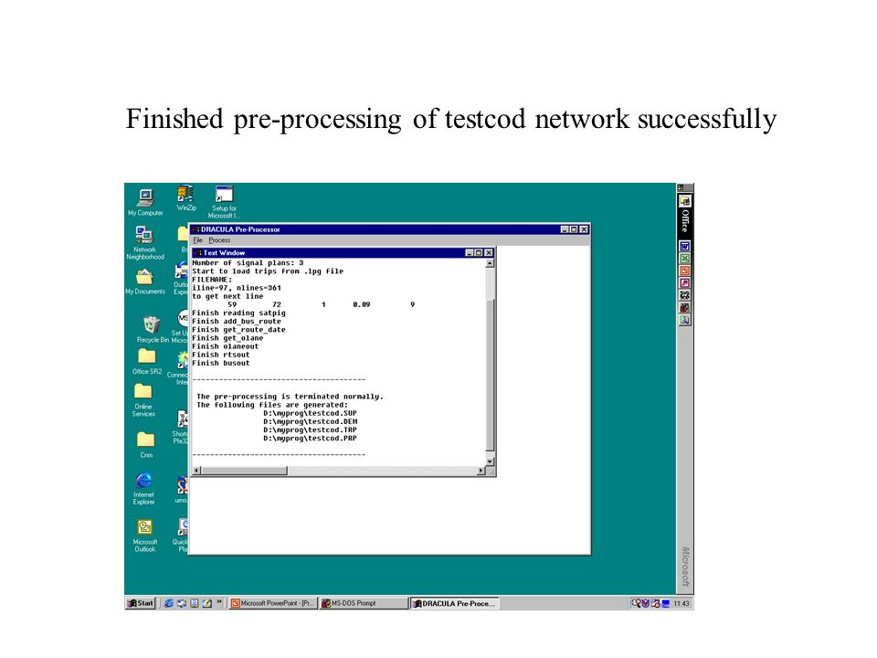Finished pre-processing of testcod network successfully
