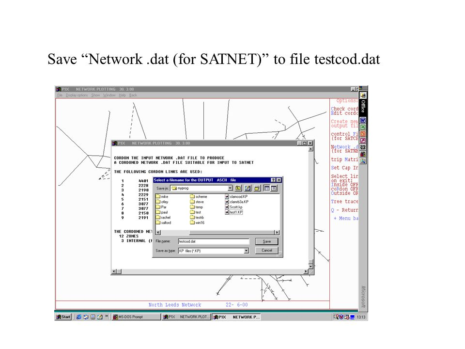 Save Network.dat (for SATNET) to file testcod.dat