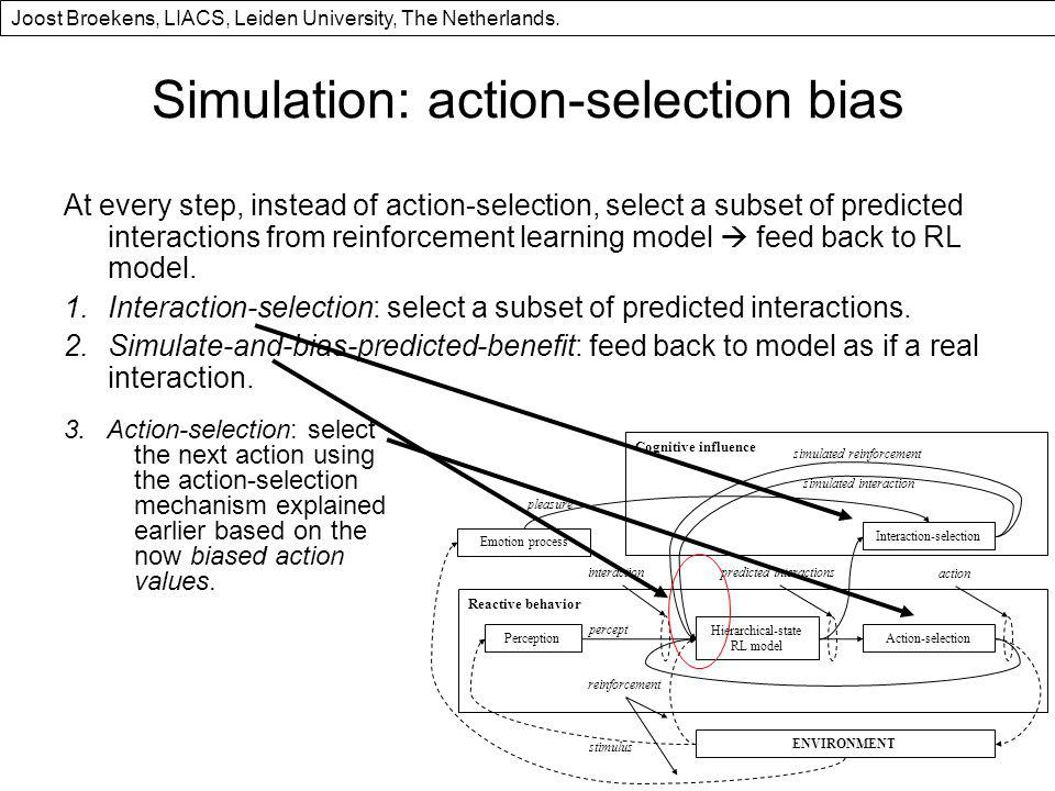 Simulation: action-selection bias At every step, instead of action-selection, select a subset of predicted interactions from reinforcement learning model feed back to RL model.