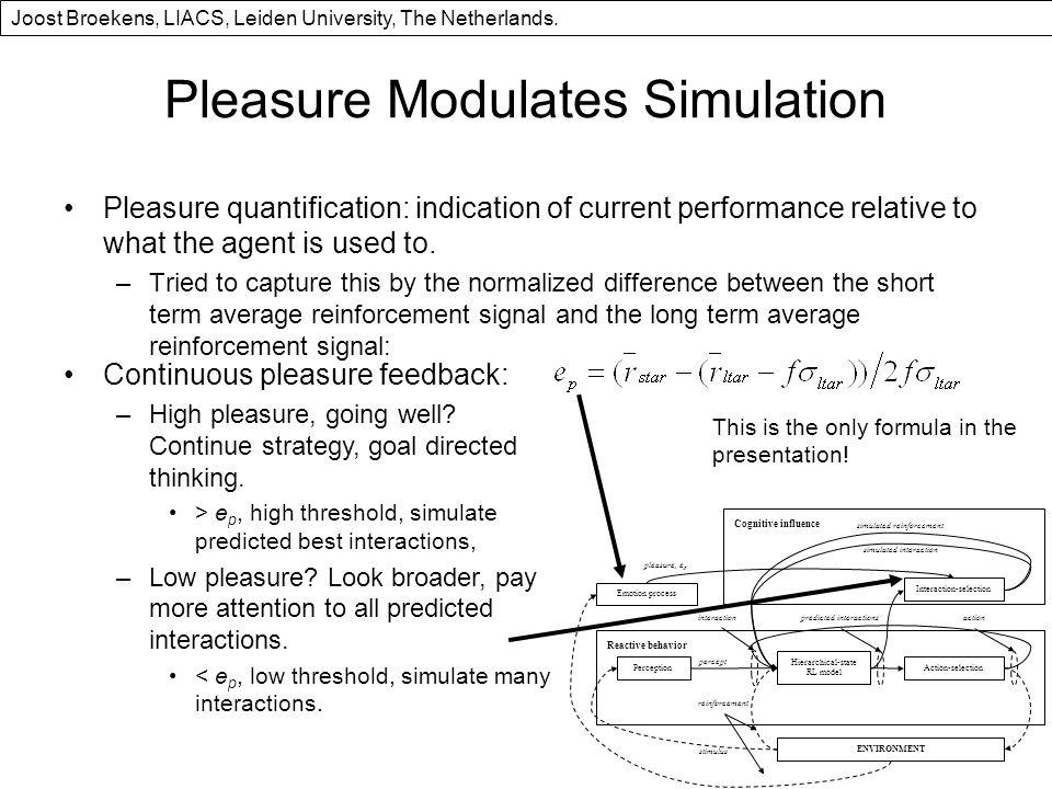 Pleasure Modulates Simulation Pleasure quantification: indication of current performance relative to what the agent is used to.