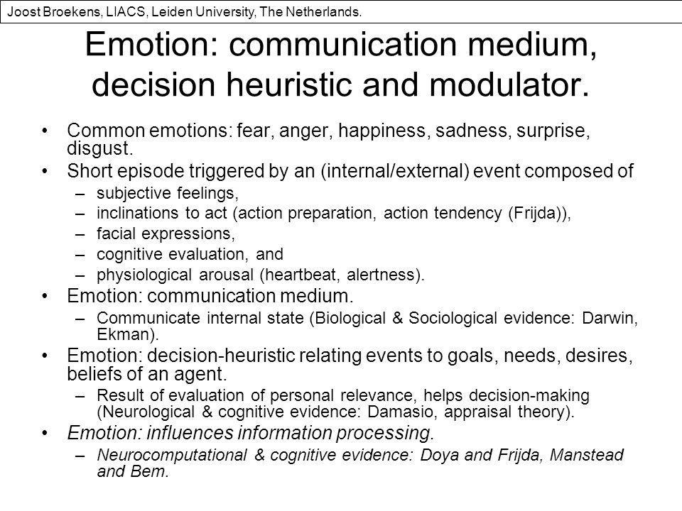 Emotion: communication medium, decision heuristic and modulator.