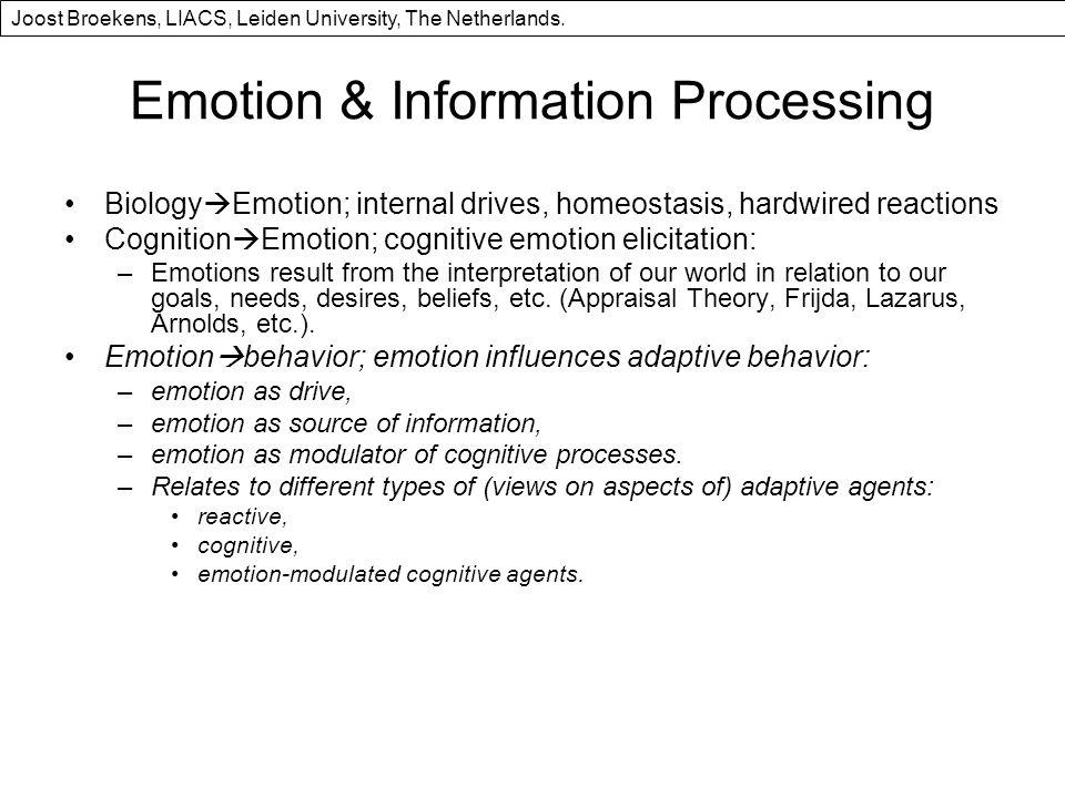 Emotion & Information Processing Biology Emotion; internal drives, homeostasis, hardwired reactions Cognition Emotion; cognitive emotion elicitation: –Emotions result from the interpretation of our world in relation to our goals, needs, desires, beliefs, etc.