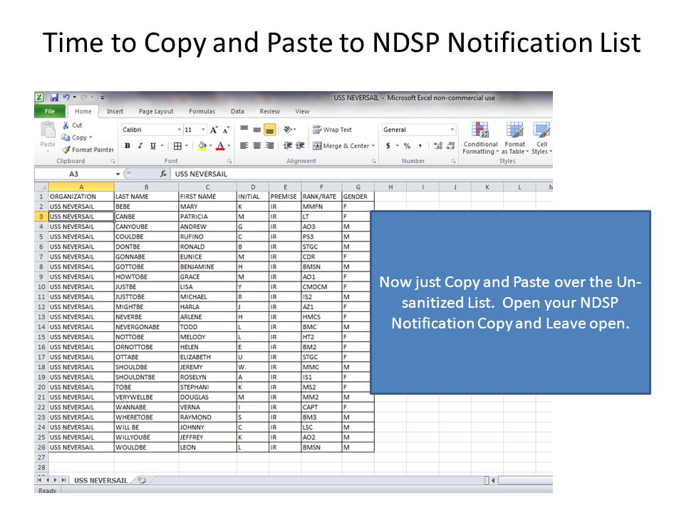 Time to Copy and Paste to NDSP Notification List Now just Copy and Paste over the Un- sanitized List.