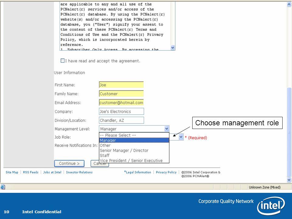 Intel Confidential 10 Choose management role