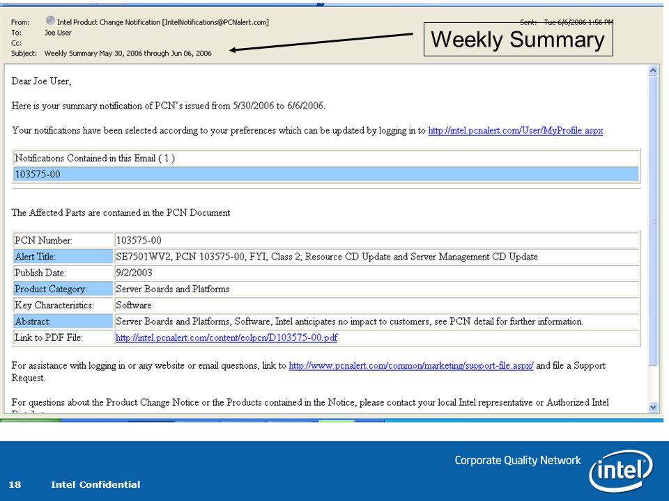 Intel Confidential 18 Weekly Summary