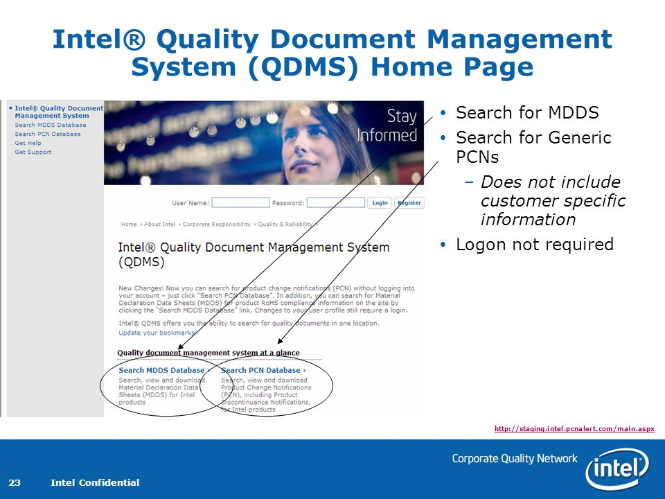 Intel Confidential 23 Intel® Quality Document Management System (QDMS) Home Page Search for MDDS Search for Generic PCNs –Does not include customer specific information Logon not required http://staging.intel.pcnalert.com/main.aspx