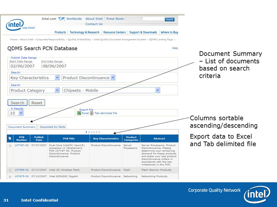 Intel Confidential 31 Document Summary – List of documents based on search criteria Columns sortable ascending/descending Export data to Excel and Tab delimited file