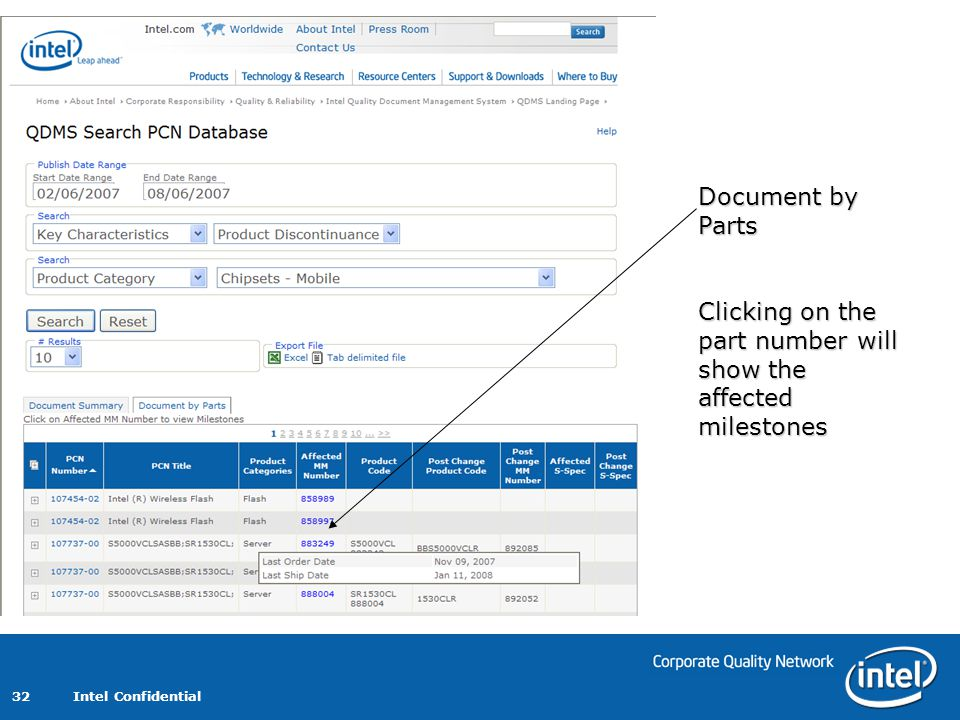 Intel Confidential 32 Document by Parts Clicking on the part number will show the affected milestones